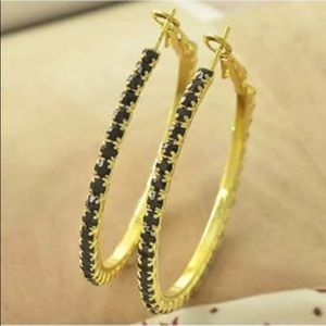 BLACK SAPPHIRE GOLD PLATED HOOP EARRINGS